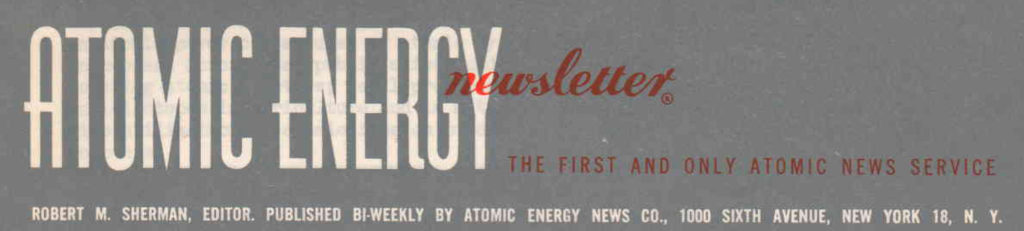 Atomic Energy Newsletter Samples
